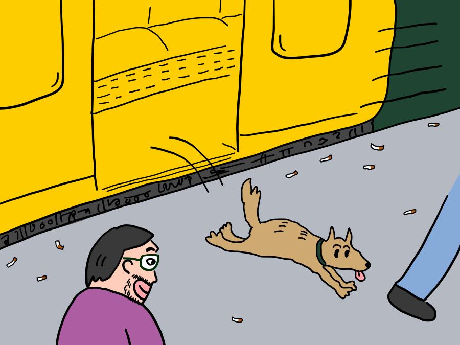 犬も徐行運転での乗り降りに慣れている様子
