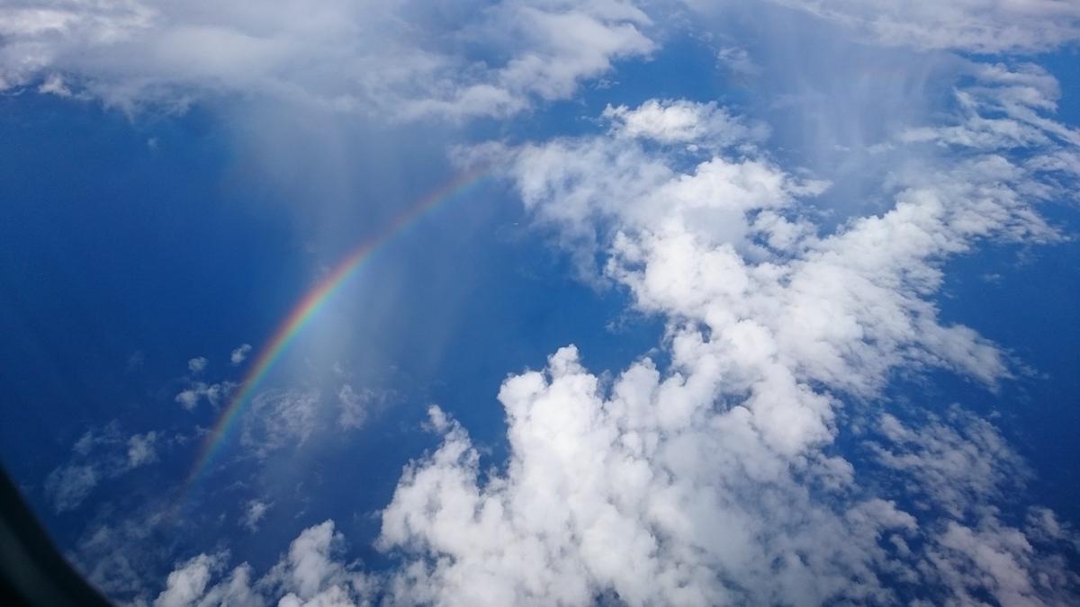 飛行機の上からの虹