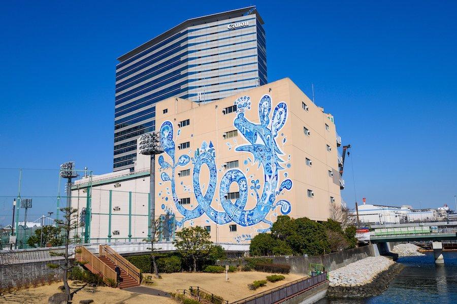 TENNOZ ART FESTIVAL 2019 で制作された 《どこまでも繋がっていく》/ 淺井 裕介 photo by ぷらいまり