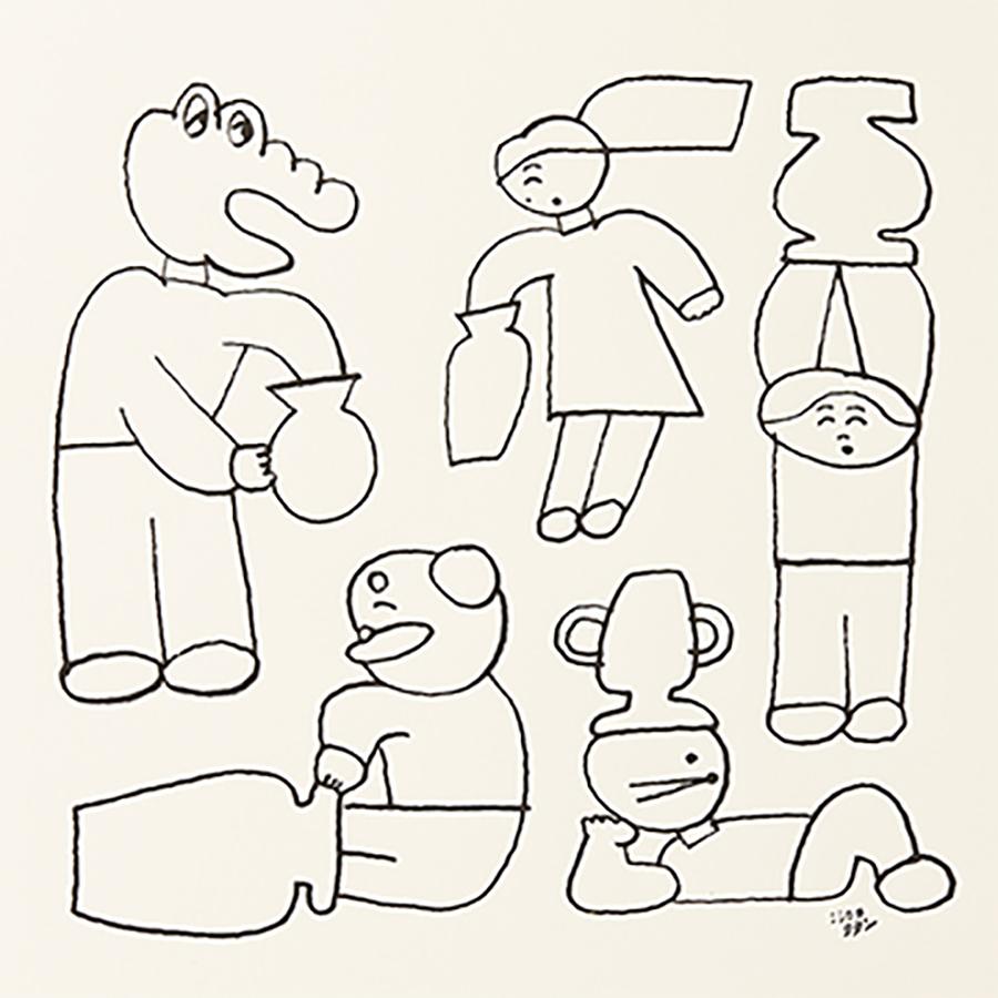 「Postarte」アートの一例。ニシワキタダシ『つぼにはまってぬけられない人たち』