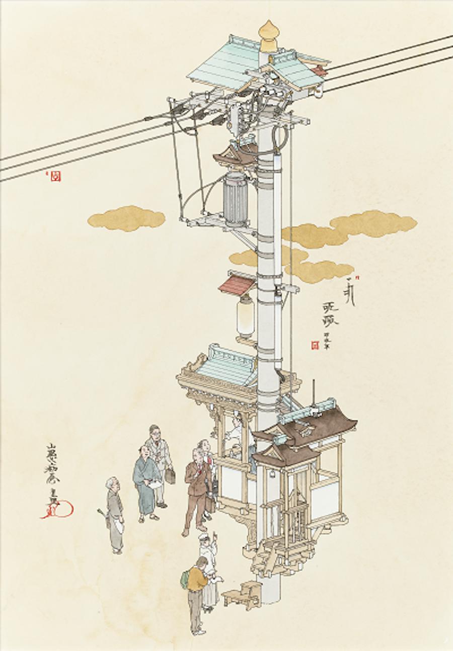 山口晃《演説電柱》 平成 24 年(2012) ペン、水彩、紙 個人蔵 ©️YAMAGUCHI Akira, Courtesy of Mizuma Art Gallery photo by 練馬区立美術館