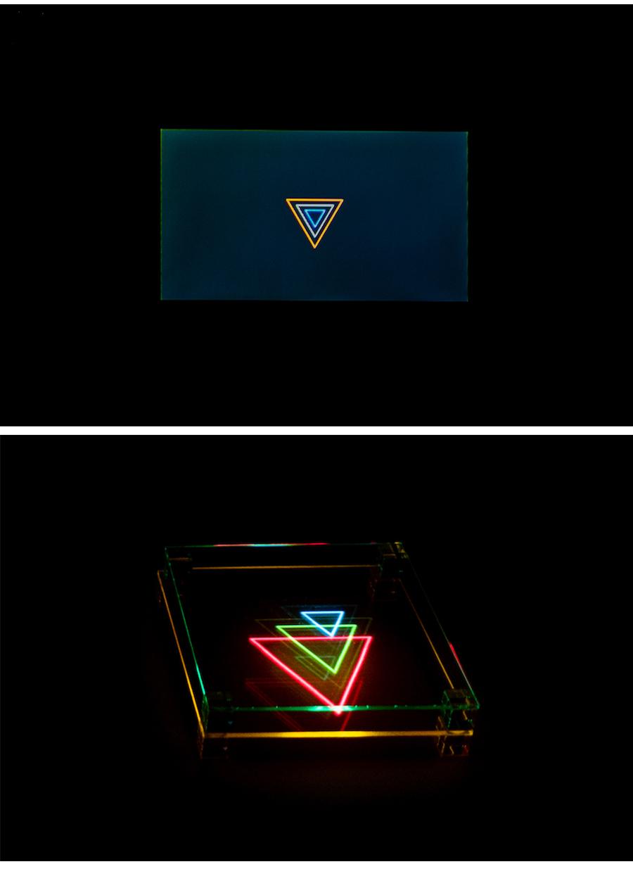 《study Triangle》 / 石川将也    上のようなRGBの映像をプロジェクタから出力することで、下のような光の立体造形が生まれる photo by ぷらいまり