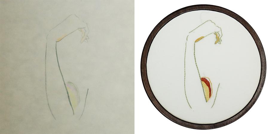 刺繍家 hoshi mitsuki  作品の元になるスケッチ