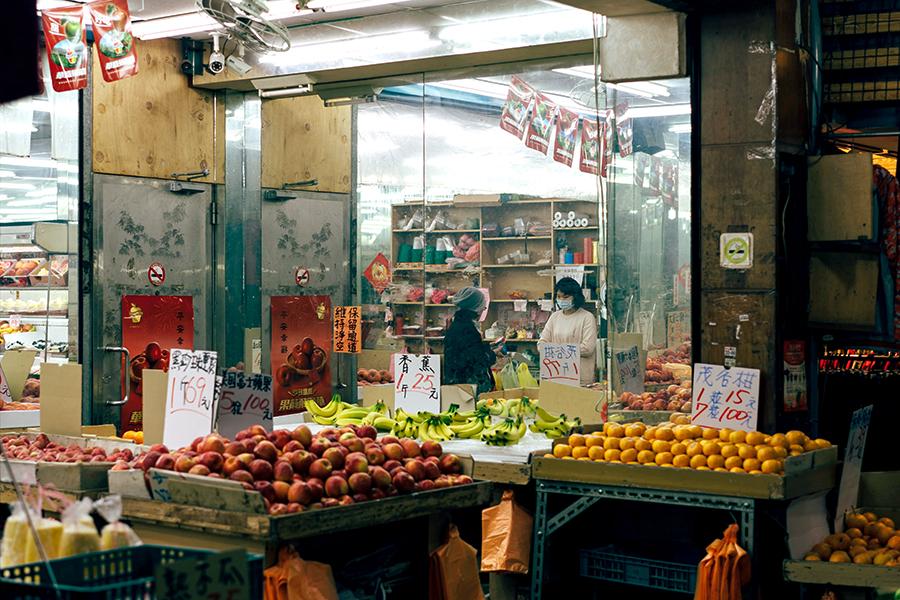 台湾の伝統的な市場でよく見かける果物売り場